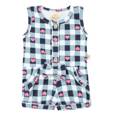 Imagem 1 do produto Macaquinho regata para bebe em cotton Bubblegum - Time Kids - TK5057.AZ MACAQUINHO XADREZ AZUL-M