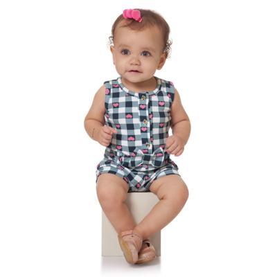Imagem 3 do produto Macaquinho regata para bebe em cotton Bubblegum - Time Kids - TK5057.AZ MACAQUINHO XADREZ AZUL-M