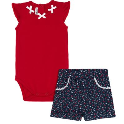 Imagem 1 do produto Body regata c/ Shorts para bebe em cotton Liberty - Mini Sailor - 17374443 CONJ. BODY C/SHORTS COTTON VERMELHO-NB