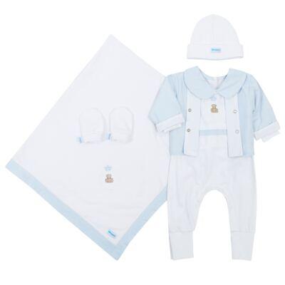 Imagem 1 do produto Saída Maternidade Blue Theodore: casaquinho + macacão + manta + touca + luvas