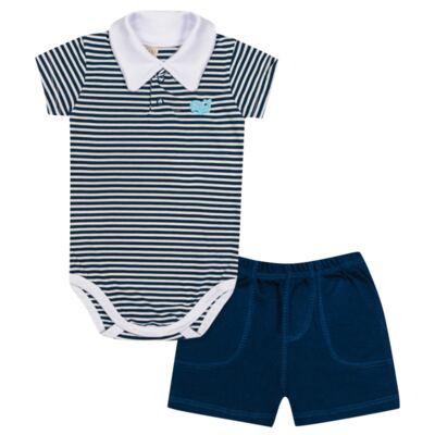 Imagem 1 do produto Body curto com shorts para bebe em malha Baleinha - Pingo Lelê - PL65848 BODY CURTO C/SHORT MARINHO/BRANCO LISTRA-GG