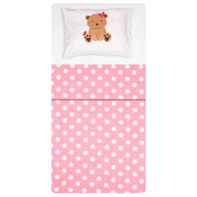 Imagem 1 do produto Jogo de lençol para berço em malha Ursinha Poá Rosa - Pingo Lelê - PL4628 KIT 3 PEÇAS ROUPA DE CAMA POA ROSA