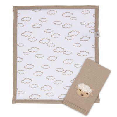 Imagem 1 do produto Kit com 2 fraldinhas de boca em malha para bebe Ovelhinha - Píngo Lelê - PL65726 KIT 2 CHEIRINHOS OVELINHA