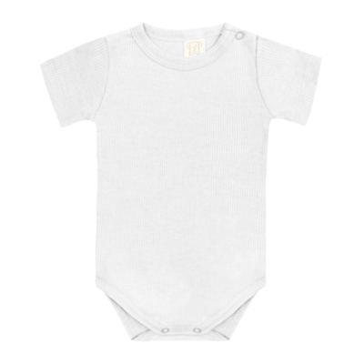 Imagem 1 do produto Body curto canelado para bebe Branco - Pingo Lelê - PL9001-BR BODY MANGA CURTA BRANCO-G