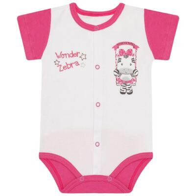 Imagem 1 do produto Body curto para bebe em suedine Zebrinha - Vicky Lipe - 937329 BODY MC COM ABERTURA SUEDINE ZEBRA-P