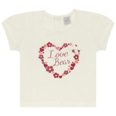 Imagem 1 do produto Blusinha para bebe em cotton Flowery Bear - Vicky Lipe - 1371360 BLUSINHA MC COTTON URSA FLORAL-M