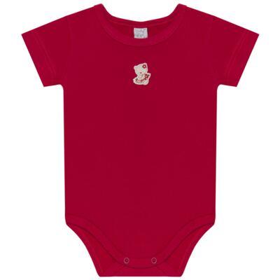 Imagem 2 do produto Body curto com Shorts para bebe em suedine Flowery Bear - Vicky Lipe - CSH1360 BODY M/C C/ SHORTS SUEDINE URSA FLORAL-P