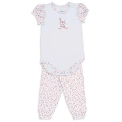 Imagem 1 do produto Body curto c/ Calça para bebe em suedine Florzinhas - Dedeka - DDK18052/E208 CONJUNTO DE BODY SUEDINE/FLORAL -G