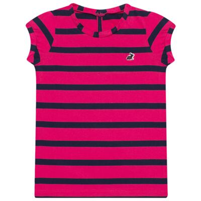 Imagem 1 do produto Blusinha em malha listrada Pink/Marinho - Missfloor - 1470MF09693 BLUSINHA MC C/ ABERTURA MALHA PINK-2