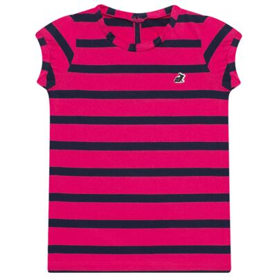 Imagem 1 do produto Blusinha em malha listrada Pink/Marinho - Missfloor - 1470MF09693 BLUSINHA MC C/ ABERTURA MALHA PINK-1