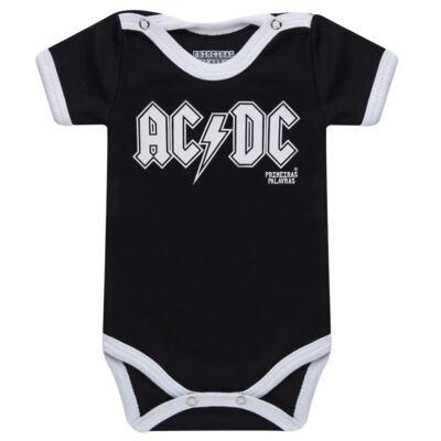 Imagem 1 do produto Body curto para bebe em suedine Hard Rock - Primeiras Palavras - PP1604 BODY ACDC MANGA CURTA-M