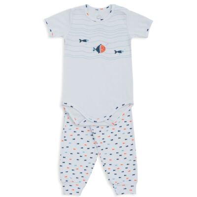 Imagem 1 do produto Body curto c/ Calça para bebe em suedine Peixinhos - Dedeka - DDK18102/E209 CONJUNTO DE BODY CURTO/CALÇA PEIXINHOS-M
