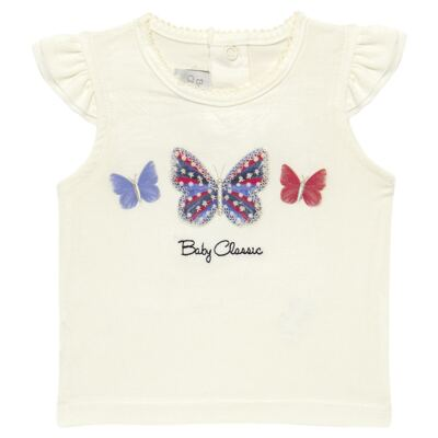 Imagem 2 do produto Blusinha com Calcinha Saia para bebe em viscolycra Butterflies - Baby Classic - 20521628 BLUSINHA M/C C/ SAIA VISCOLYCRA BUTTERFLY -G