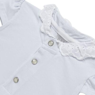 Imagem 2 do produto Blusinha para bebe em cotton Branca - Baby Classic - 21751445 BLUSINHA M/C GOLA COTTON CLÁSSICO-M