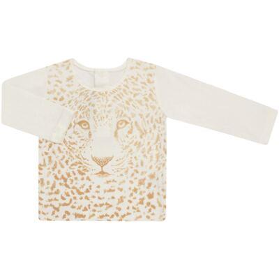 Imagem 1 do produto Blusinha manga longa para bebe em viscolycra Animal Print Caramel - Baby Classic - 016340 BLUSINHA GOLA CARECA VISCOLYCRA ONCINHA MARFIM-M