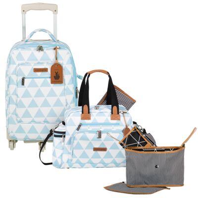 Imagem 1 do produto Mala maternidade com Rodízio + Bolsa Everyday + Frasqueira Organizadora Manhattan Azul - Masterbag