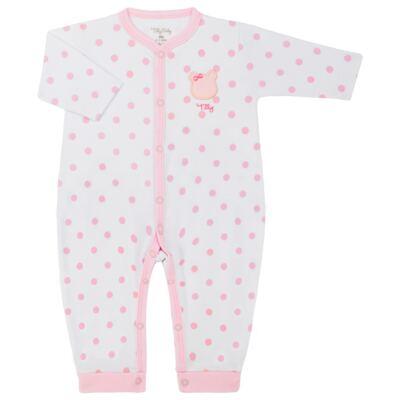 Imagem 1 do produto Macacão longo para bebe em suedine Ursinha - Tilly Baby - TB183705 MACACAO LONGO FEM URSA LACINHO-G