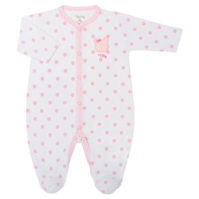 Imagem 1 do produto Macacão longo para bebe em suedine Ursinha - Tilly Baby - TB183705 MACACAO LONGO FEM URSA LACINHO-P