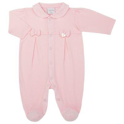 Imagem 1 do produto Macacão c/ golinha para bebe em malha Lacinhos - Tilly Baby - TB183409 MACACAO LONGO FEM CLASSICO ROSA-RN