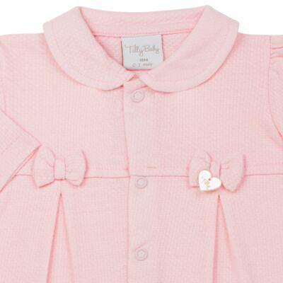 Imagem 2 do produto Macacão c/ golinha para bebe em malha Lacinhos - Tilly Baby - TB183409 MACACAO LONGO FEM CLASSICO ROSA-RN