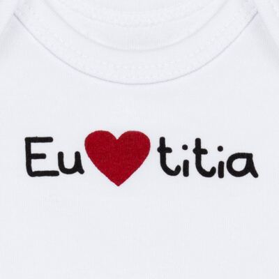 Imagem 2 do produto Body longo para bebe em algodão egípcio Eu amo Titia - Bibe - 10A53-01 BD UNIS ML CRISTAL BRANCO TITIA-GG