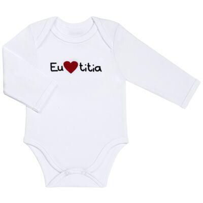 Imagem 1 do produto Body longo para bebe em algodão egípcio Eu amo Titia - Bibe - 10A53-01 BD UNIS ML CRISTAL BRANCO TITIA-M