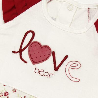 Imagem 3 do produto Macacão babadinhos c/ faixa para bebe em malha Flowery Bear - Vicky Lipe - 20671360 MACACÃO RAGLÃ C/ BABADOS MALHA URSA FLORAL-GG