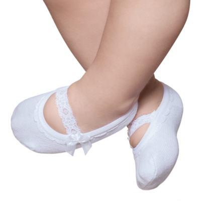 Imagem 1 do produto Meia Sapatilha para bebe Branca Renda & Laço - Puket - PK9039L-B Meia Sapatilha Festa Branco -0/4
