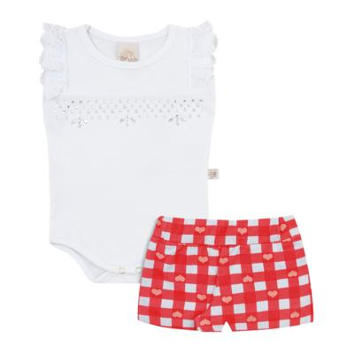 Body regata com shorts balonê para bebe Cherry - Time Kids - TK5054.BC CONJUNTO BODY E SHORTS XADREZ BRANCO-P