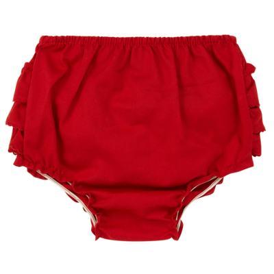 Imagem 2 do produto Calcinha Babadinhos para bebe em fustão Vermelha - Mini Sailor - 56024443 CALCINHA C/BABADO TRICOLINE VERMELHO-0-3