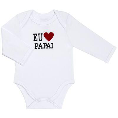 Imagem 1 do produto Body longo para bebe em algodão egípcio Eu amo Papai - Bibe - 10A45-01 BD UNIS ML CRISTAL BRANCO PAPAI-P