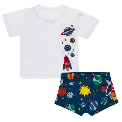 Imagem 1 do produto Conjunto de Banho para bebe Galaxy: Camiseta + Sunga - Cara de Criança - KIT 1 2578: SBB2578+CCAB2578 SUNGA E CAMISETA ESPACIAL-P