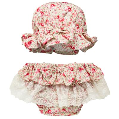 Imagem 1 do produto Conjunto de banho para bebê Liberty: Bumbum + Chapéu - Roana - BSR00900973 BANHO DE SOL C/ RENDA 3737 FLORAL/LARANJA-M
