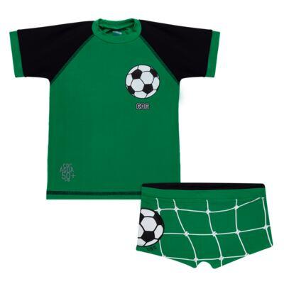 Imagem 1 do produto Conjunto de Banho Football: Camiseta surfista + Sunga - Cara de Criança - KIT 1 2529: SB2529+CSA2529 SUNGA E CAMISETA FUTEBOL-4