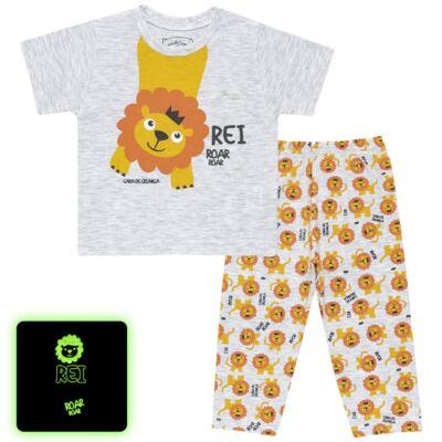 Imagem 1 do produto Pijama curto que Brilha no Escuro Lion - Cara de Criança - BC1943 REI LEÃO BC PJ - BB CURTA C/CALÇA M/MALHA-G