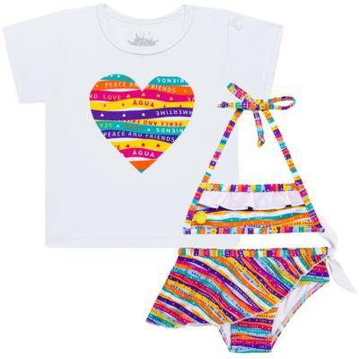Imagem 1 do produto Conjunto de Banho Peace & Love: Camiseta + Biquíni - Cara de Criança - KIT 1 2586: B2586+CCA2586 BIQUINI E CAMISETA SUMMER-3