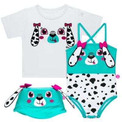 Imagem 1 do produto Conjunto de Banho para bebe Dalmatians: Camiseta + Maiô + Chapéu - Cara de Criança - KIT 1 2536: MB2536+CH2536+CCAB2536 MAIO E CHAPEU E CAMISETA DALMATA-P