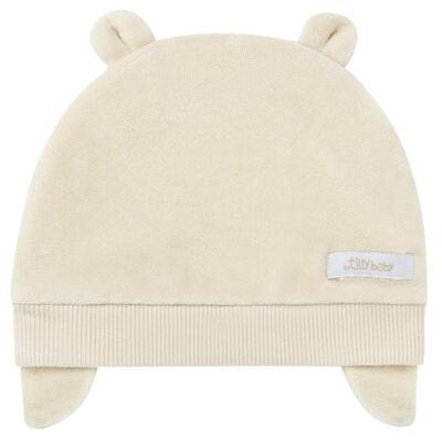 Imagem 1 do produto Touca Orelhinha para bebe em plush Bege - Tilly Baby - TB13173.02 GORRO BASICO DE PLUSH C/ORELHA BEGE-M