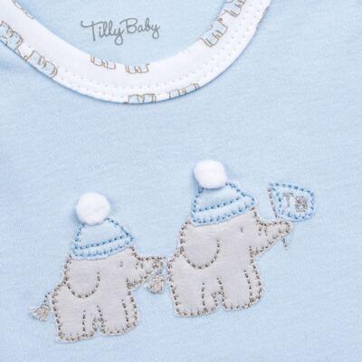 Imagem 5 do produto Conjunto Pagão Elefantinho: Casaquinho + Body longo + Calça - Tilly Baby - TB170221.01 KIT BODY CALCA E CASACO ELEFANTINHOS AZUL BEBE-RN