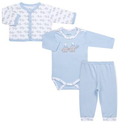Imagem 1 do produto Conjunto Pagão Elefantinho: Casaquinho + Body longo + Calça - Tilly Baby - TB170221.01 KIT BODY CALCA E CASACO ELEFANTINHOS AZUL BEBE-M