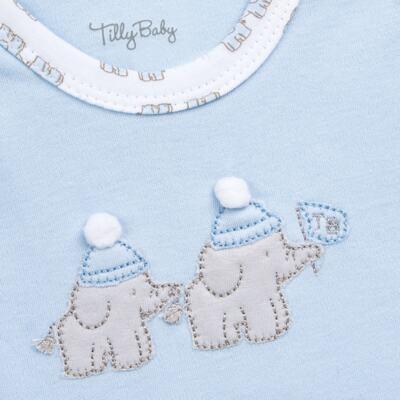 Imagem 5 do produto Conjunto Pagão Elefantinho: Casaquinho + Body longo + Calça - Tilly Baby - TB170221.01 KIT BODY CALCA E CASACO ELEFANTINHOS AZUL BEBE-M