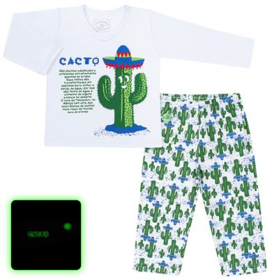 Imagem 1 do produto Pijama longo que Brilha no escuro Cacto - Cara de Criança - L2371 CACTUS L PJ-LONGO M/MALHA-3