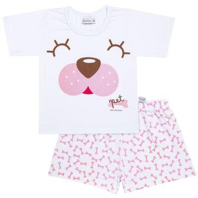 Imagem 1 do produto Pijama curto com Shorts em malha Cachorrinha - Cara de Sono - U2118 PET MENINA PIJAMA-CURTO M/MALHA-4