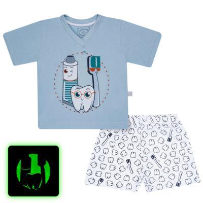 Imagem 1 do produto Pijama curto que Brilha no Escuro Dentinho - Cara de Criança - U2887 TIME SORRISO MASC. U PIJAMA CURTO M/MALHA -2