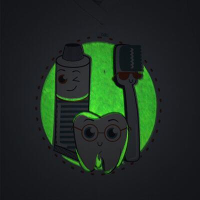 Imagem 3 do produto Pijama curto que Brilha no Escuro Dentinho - Cara de Criança - U2887 TIME SORRISO MASC. U PIJAMA CURTO M/MALHA -2