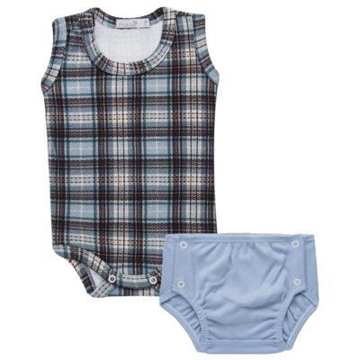 Imagem 1 do produto Body regata c/ Cobre Fralda para bebe em algodão egípcio Windsor - Roana - 02132024370 Body c/ Cueca Xadrez Azul -M