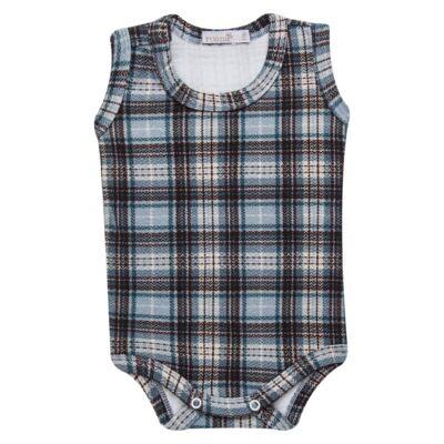 Imagem 2 do produto Body regata c/ Cobre Fralda para bebe em algodão egípcio Windsor - Roana - 02132024370 Body c/ Cueca Xadrez Azul -M