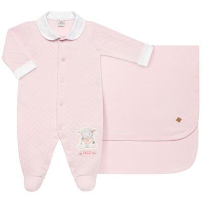 Imagem 1 do produto Jogo Maternidade com Macacão e Manta em viscomfort Ovelhinha Rosa - Petit - 47084344 JG. MAT. MACAC ML C/ GOLA MATELASSE OVELHA FEM -P
