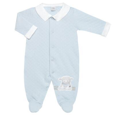 Imagem 2 do produto Jogo Maternidade com Macacão e Manta em viscomfort Ovelhinha Azul - Petit - 47094345 JG MAT. MACAC. ML GOLA MATELASSE OVELHA MASC.-P