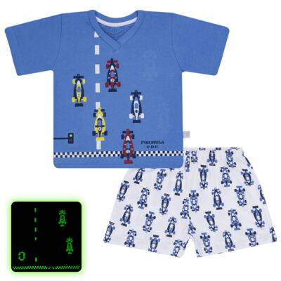 Imagem 1 do produto Pijama curto que Brilha no Escuro Fórmula 1 - Cara de Criança - U2888 FORMULA 1 U PIJAMA CURTO M/MALHA-6
